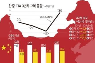 '한중 FTA' 中 성장 둔화에도 양국 교역 13개월 연속 증가
