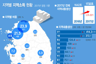 통계청, 21일 '2017년 지역소득(잠정)' 발표..수도권 비중 50 넘어