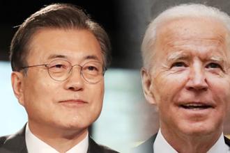 """文대통령·바이든, 내달 21일 한미정상회담…靑 """"비핵화 등 논의"""""""