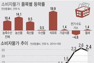 소비자물가 3개월째 2대 상승…계란 54.9↑'고공행진